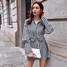 Button Front O-ring Buckle Belted Gingham Dress