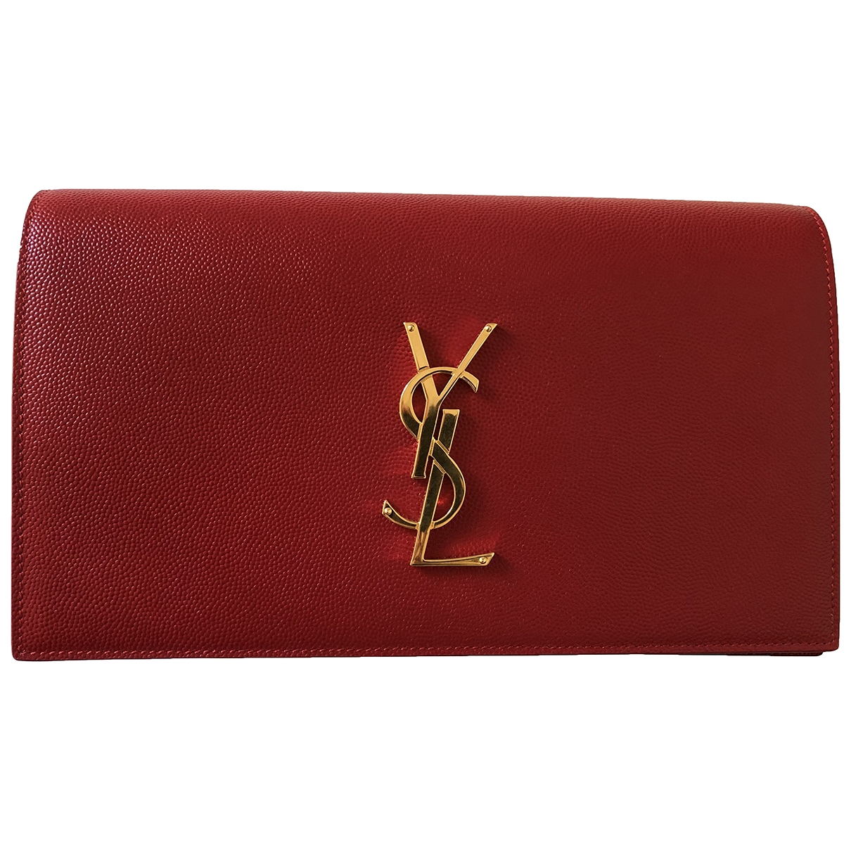Saint Laurent Kate monogramme Clutch in  Rot Leder