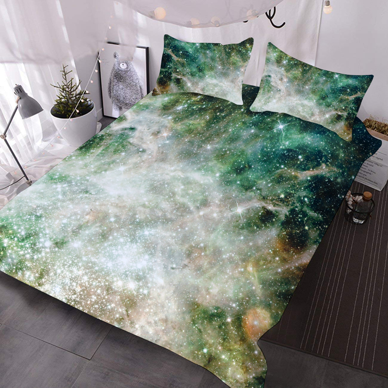 3D Starry Galaxy Green Lightweight Comforter 3-Piece Machine Washable Comforter Set with 2 Pillow Shams