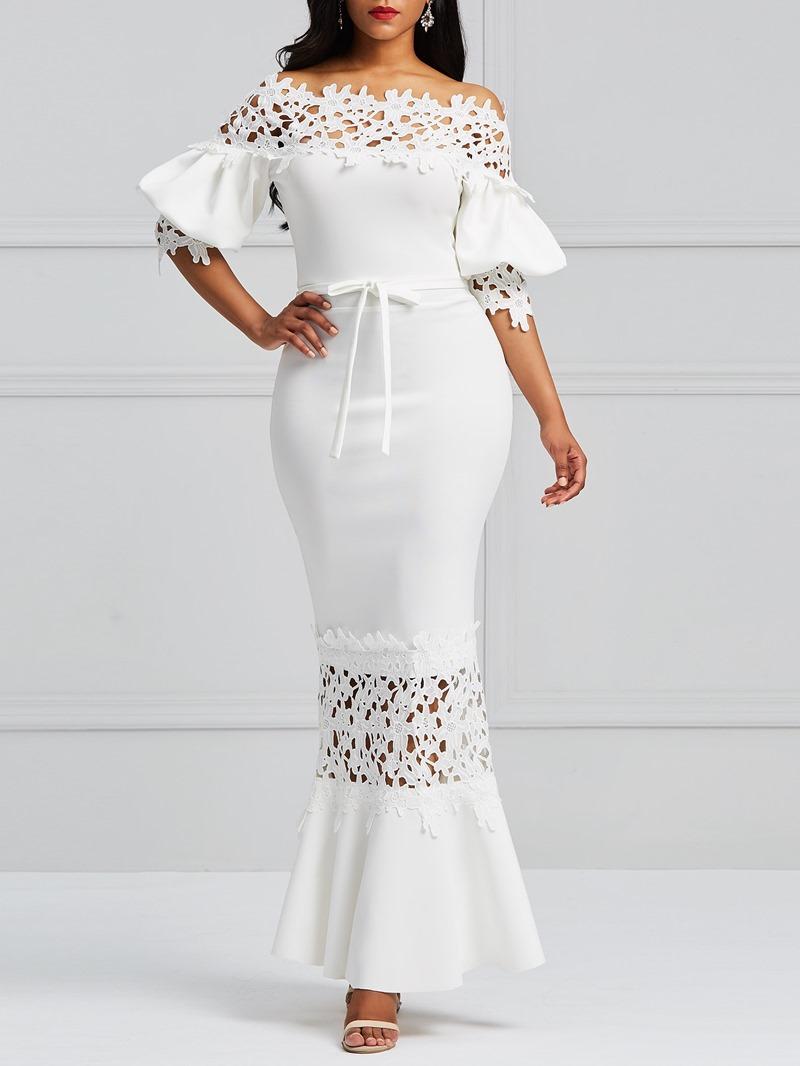 Ericdress White Slash Lantern Sleeve Neck Lace Maxi Dress