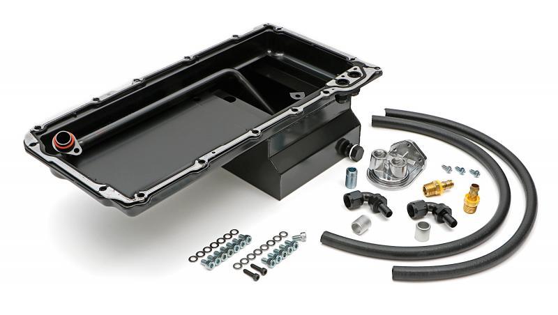 Trans-Dapt Performance 180 LS Swap Oil Pan/Filter Reocation Kit; Single Filter; Vertical Port; Black Pan