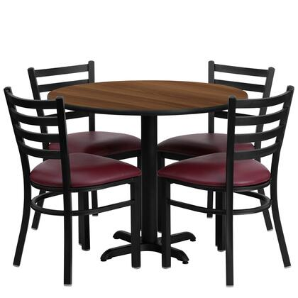 HDBF1008-GG 36'' Round Walnut Laminate Table Set with Ladder Back Metal Chair and Burgundy Vinyl Seat Seats