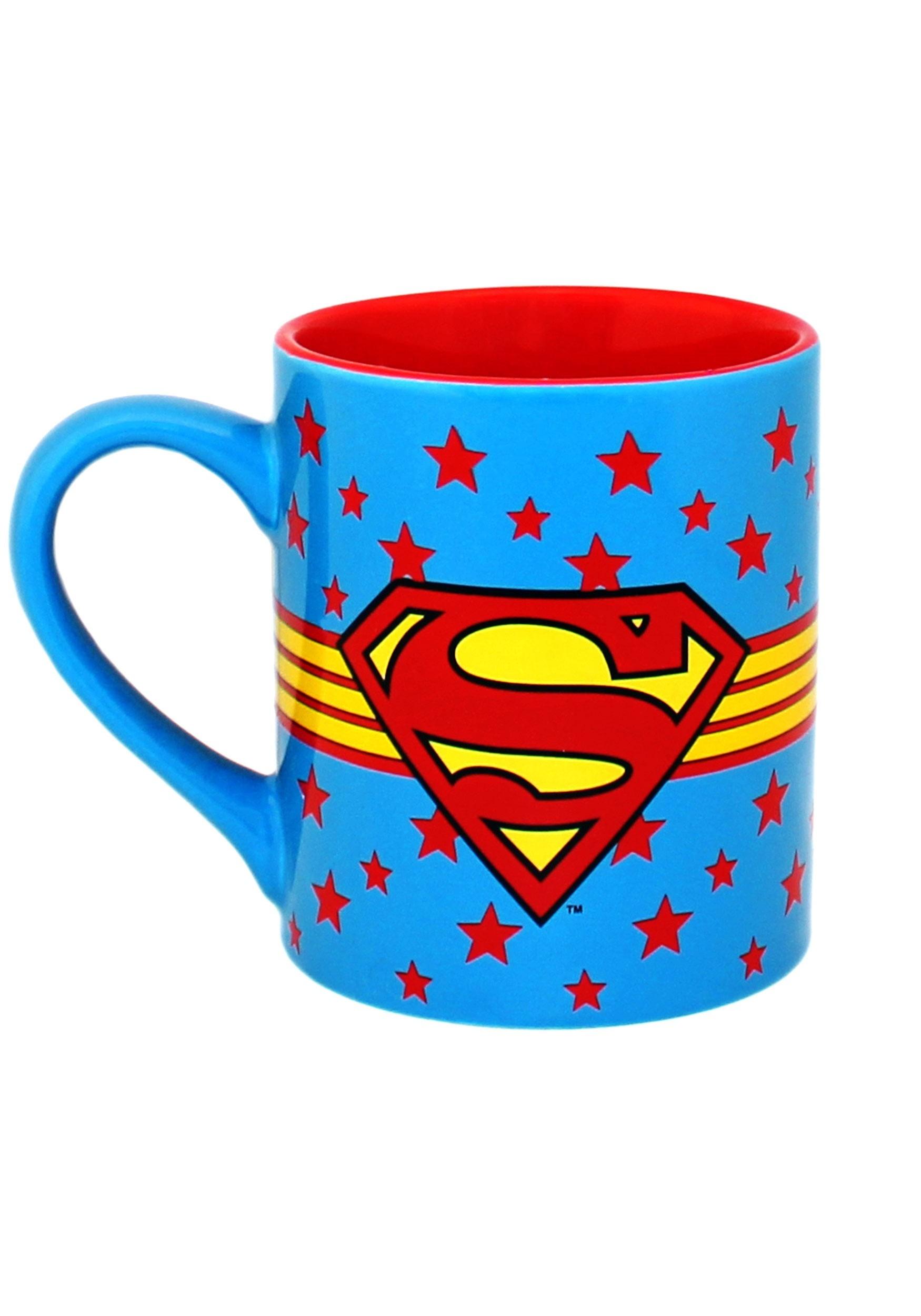 Superman Logo Wrap Around w/ Stars Ceramic Mug 14oz