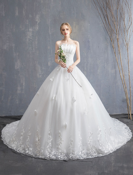 Milanoo Lace Wedding Dresses Ivory Strapless Sleeveless Applique Princess Bridal Gown With Train