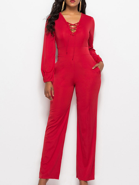 Milanoo Red V Neck Long Sleeves Cotton Blend Straight Summer One Piece Outfit