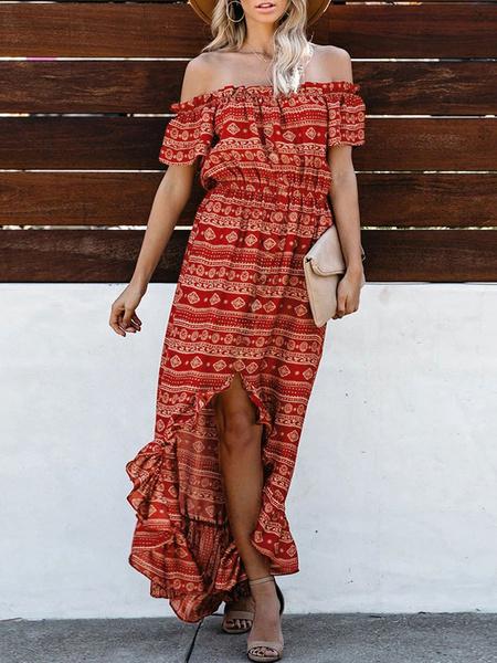Milanoo Boho Maxi Dresses Off The Shoulder Printed Chiffon High Low Dress