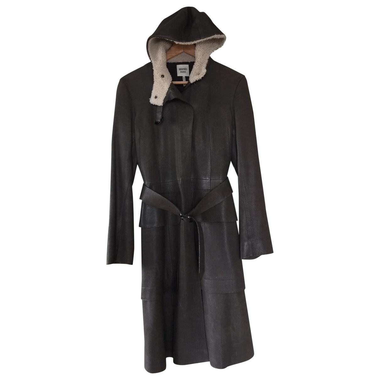 Hermes - Manteau   pour femme en mouton - kaki