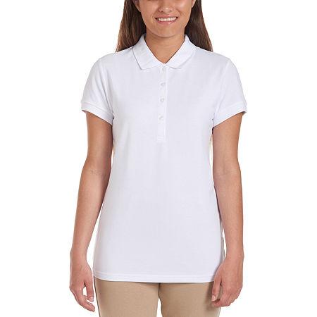 IZOD Womens Short Sleeve Stretch Pique Knit Polo Shirt Juniors, Large , White