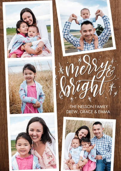 Christmas Photo Cards 5x7 Cards, Premium Cardstock 120lb with Scalloped Corners, Card & Stationery -Christmas Script Merry Bright by Tumbalina