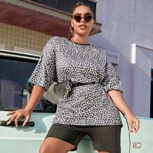 Plus Leopard Drop Shoulder Longline Tee Without Bag