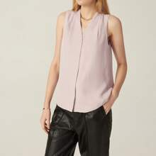 COTTON-BLEND FOLD PLEATED BLOUSE