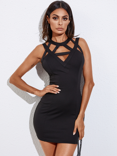 YOINS Black Cut Out Backless Design Sleeveless Dress