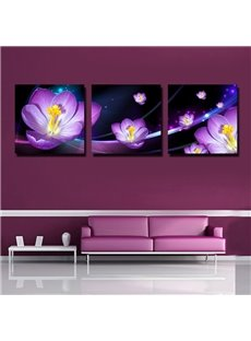 Purple 3D Flowers Print 3-piece Cross Film Wall Art Prints