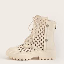 Hollow Out Lace-up Ankle Boots