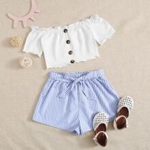 Girls Button Front Lettuce Edge Top and Striped Shorts Set