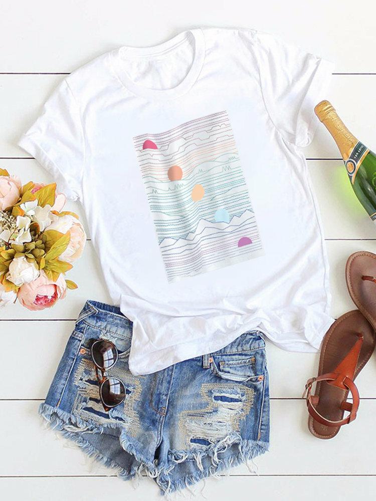 Cotton Sunset Print Crew Neck Short Sleeve Women T-shirts