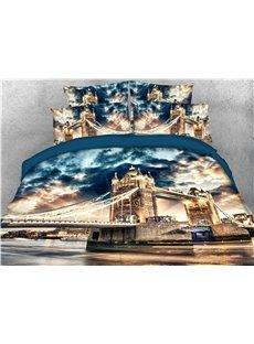 London Tower Bridge Printed 4-Piece 3D Bedding Sets/Duvet Covers