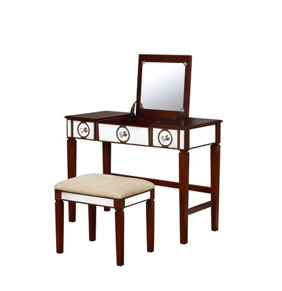 580454WAL01U Madison Collection Vanity Set with Medium-Density Fiberboard (MDF) and Polyester Upholstery in Beige