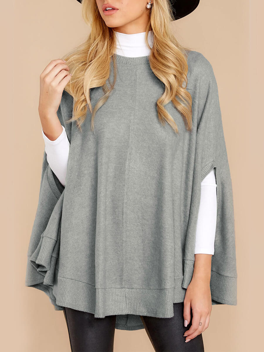 LW Lovely Casual O Neck Cloak Design Grey Sweatshirt