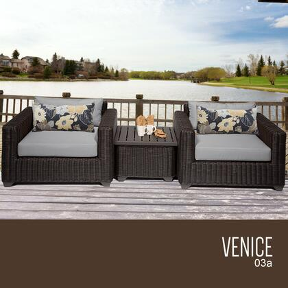VENICE-03a-GREY Venice 3 Piece Outdoor Wicker Patio Furniture Set 03a with 2 Covers: Wheat and
