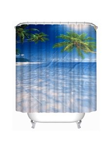 3D Blue Sea and Palms Polyester Waterproof Antibacterial and Eco-friendly Shower Curtain