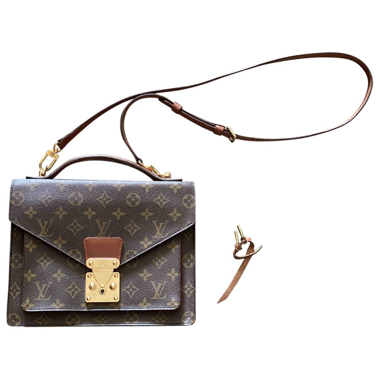 Louis Vuitton - Sac a main Monceau pour femme en toile - marron