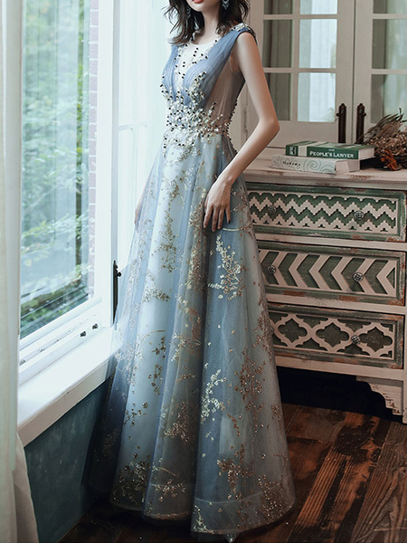 Milanoo Prom Dress A Line Sleeveless Floor Length Jewel Neck Lace Appliqued Formal Occasion Dresses