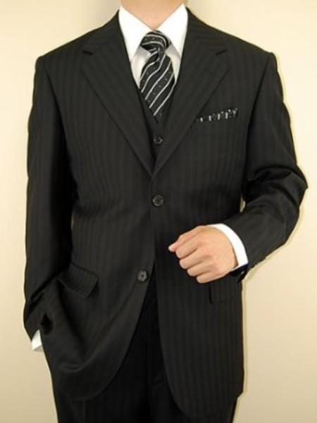 Mens 3Piece Suit Black Tone on Tone Stripe Pinstripe 2Button Vest