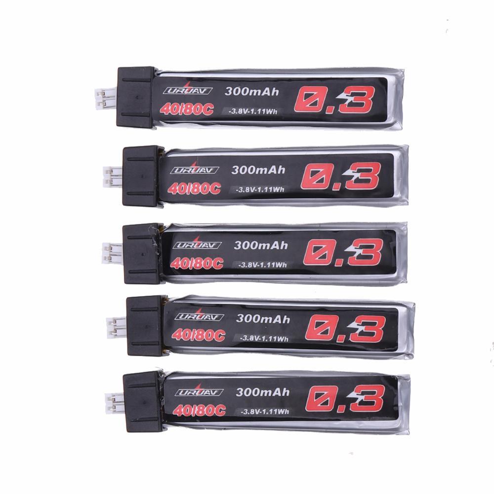 5Pcs URUAV 3.8V 300Mah 40/80C 1S HV 4.35V Lipo Battery PH2.0 Plug forfor Eachine TRASHCAN Snapper6 7 Mobula7 Beta75 Pr
