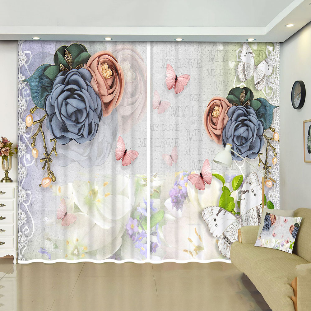 3D Custom Blackout and Decoration Window Curtains with Rose and Butterfly Pattern No Pilling No Fading No off-lining Drapes