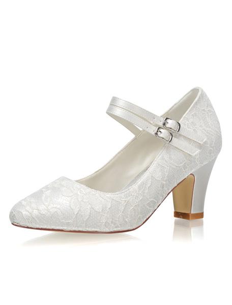 Milanoo Zapatos de novia de saten 7cm Zapatos de Fiesta Zapatos Marfil de tacon gordo Zapatos de boda de puntera redonda