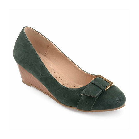 Journee Collection Womens Graysn Pumps Wedge Heel, 7 Medium, Green