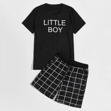 Men Letter Graphic Tee With Plaid Shorts