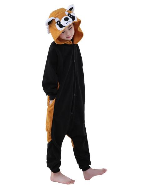 Milanoo Kigurumi Pajamas Red Panda Raccoon Onesie Black Childrens Flannel Winter Sleepwear Mascot Animal Costume Halloween