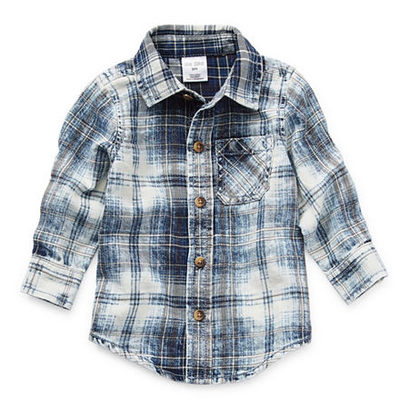 Okie Dokie Baby Boys Long Sleeve Button-Down Shirt, 9 Months , Blue