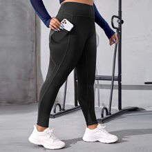 Plus Solid Wide Band Waist Sports Leggings With Phone Pocket