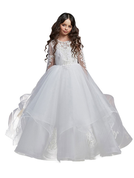 Milanoo Flower Girl Dresses Jewel Neck Lace Long Sleeves Floor-Length Princess Silhouette Embroidered Kids Party Dresses