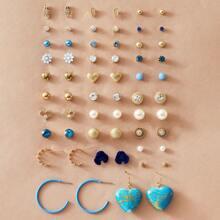 30pairs Flower & Heart Decor Earrings