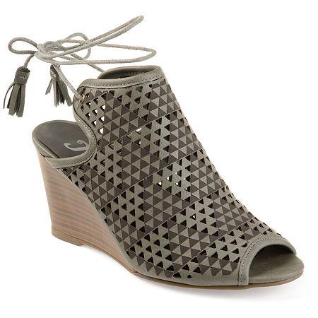 Journee Collection Womens Tandra Pumps Wedge Heel, 5 1/2 Medium, Gray