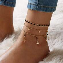 3pcs Star Charm Chain Anklet