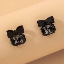 Bow & Rhinestone Decor Stud Earrings