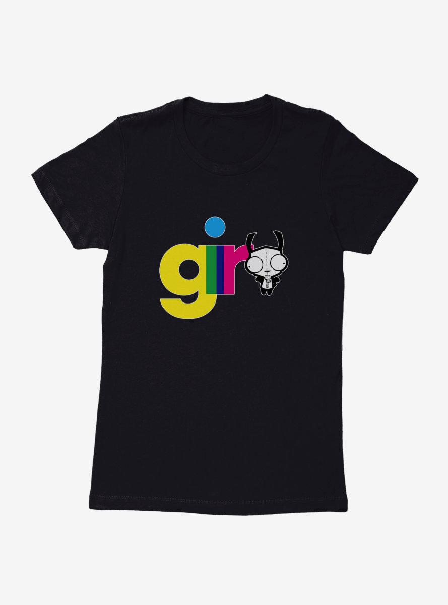 Invader Zim Gir Neon Script Womens T-Shirt