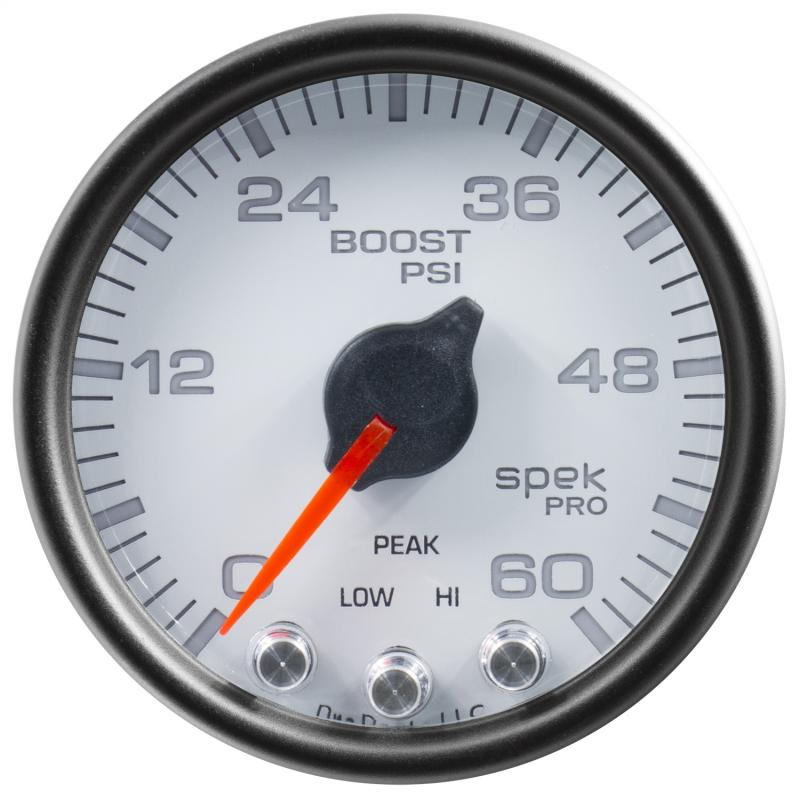 AutoMeter GAUGE; BOOST; 2 1/16in.; 60PSI; STEPPER MOTOR W/PEAK/WARN; WHT/BLK; SPEK-PRO