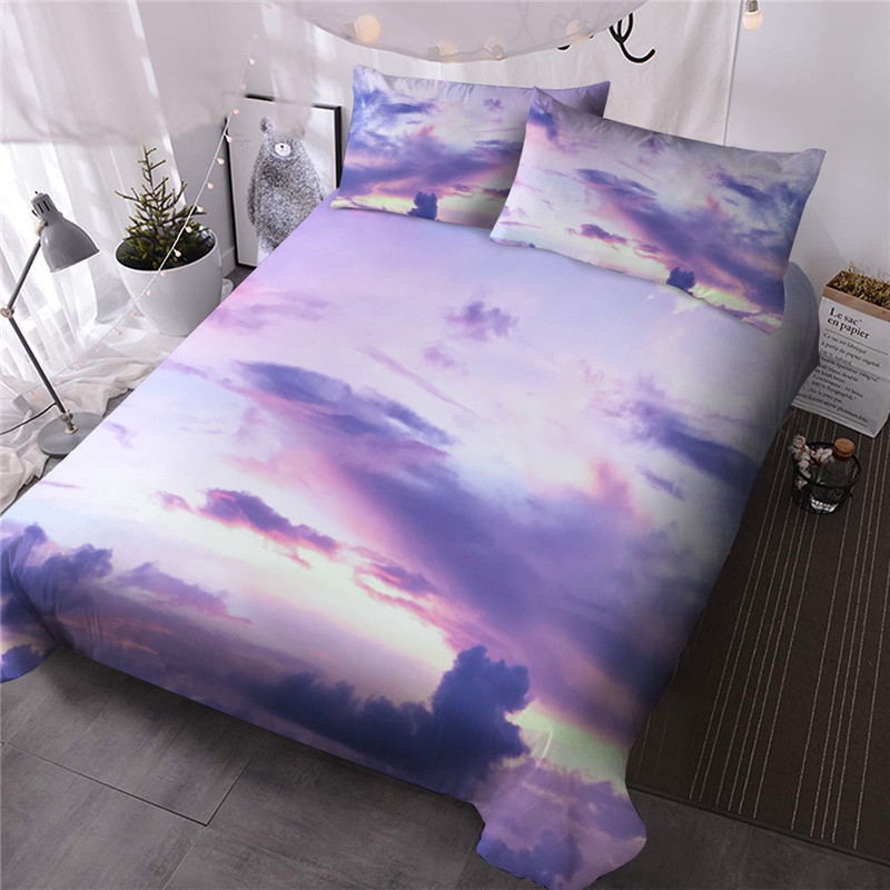 Dreamy Pink Clouds Reactive Printing Three-Piece Set Comforter Set Machine Wash Polyester Bedding Sets Galaxy With 2 Pillowcases No-fading Twin Full Q