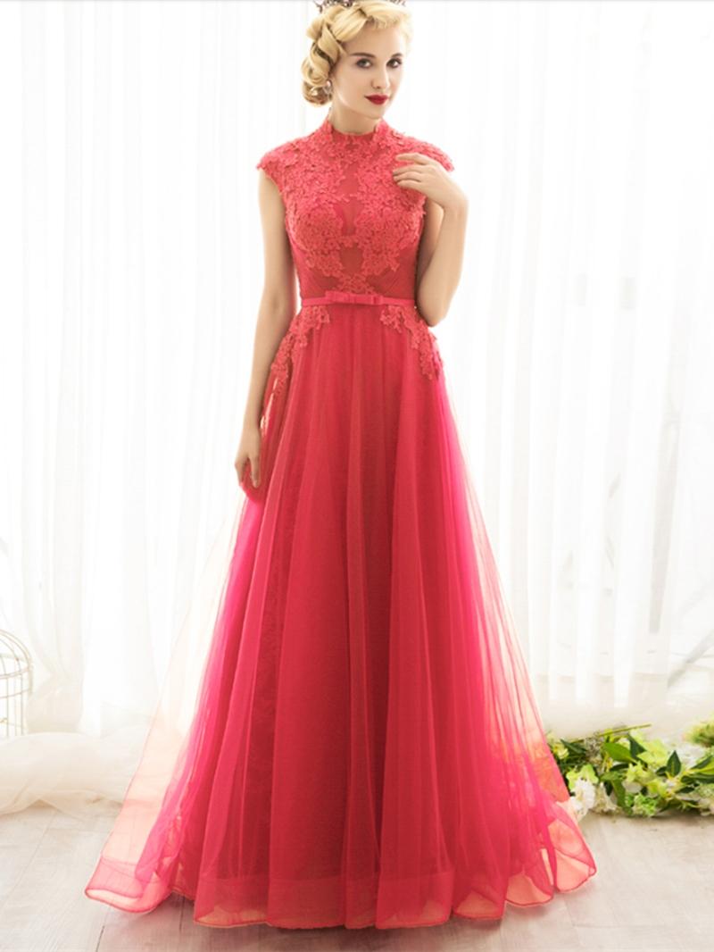 Ericdress Vintage High Neck Cap Sleeve Applique Evening Dress