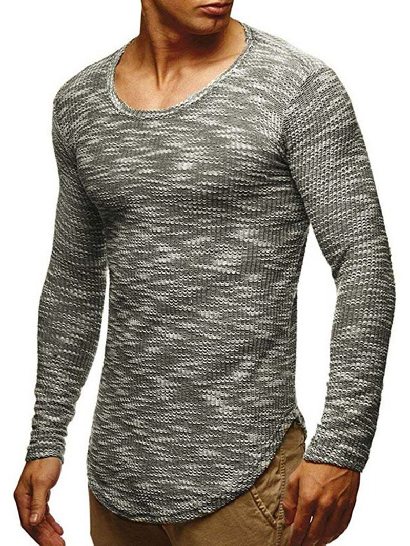 Ericdress Round Neck Color Block Mid-Length Casual Men's Sweater