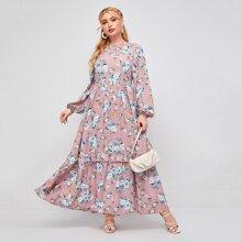 Kleid mit Blumen Muster, Laternenaermeln und Ruesche