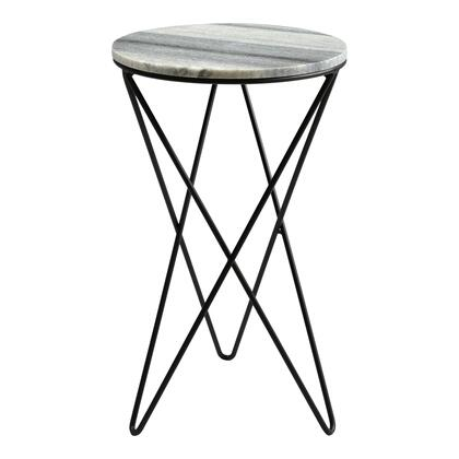 Evangeline Collection IK-1005-15 Accent Table with Powder-Coated Iron Base in Gray