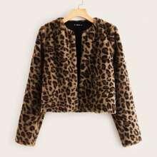 Mantel mit offener Vorderseite, Leopard Muster und Kunstpelz
