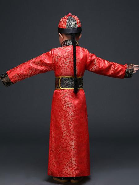 Milanoo Chinese Prince Costume Halloween Royal Kids Red Robe Of Qing Dynasty Halloween